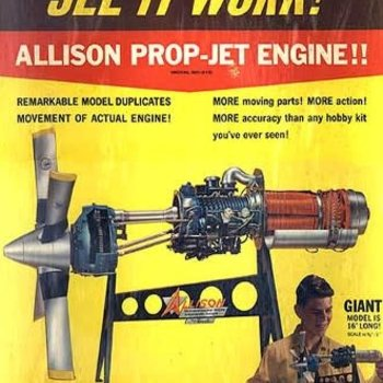 ATLANTIS 1/10 Allison 501-D13 Prop-Jet Engine w/Moving Parts & Stand (formerly Revell)