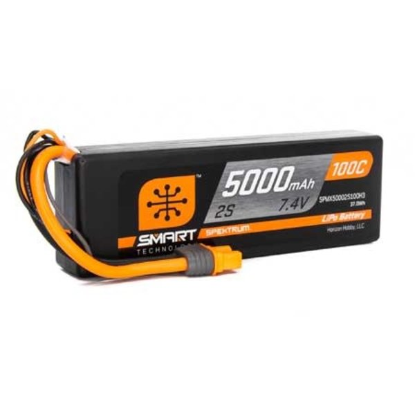 Spektrum 5000mAh 2S 7.4V 100C Smart LiPo Hardcase; IC3