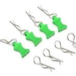 HOT RACING 1/10 Green Alum EZ Pulls, 4pcs and Body Clips (8pcs)