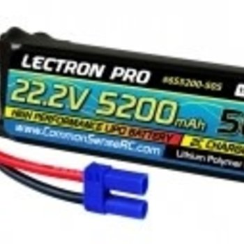 Commonsence RC Lectron Pro 22.2V 5200mAh 50C Lipo Battery with EC5 Connector for Large Planes, Helis, Quads & 1/8 Trucks