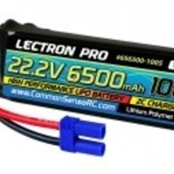 Commonsence RC Lectron Pro 22.2V 6500mAh 100C Lipo Battery with EC5 Connector for 1/5 to 1/8 Trucks, Large Planes, Helis & Drones