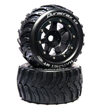 "DuraTrax Hatchet MT Belt 2.8"" Mounted Front/Rear Tires .5 Offset 17mm, Black (2)"