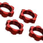 Traxxas 7758R Wheel nuts, splined, 17mm, serrated (red-anodized) (4)
