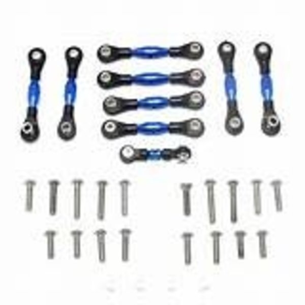GPM GPM Racing Traxxas 4-Tec 2.0 Blue Aluminum 9pc Tie Rod Set GT160-B-BEBK