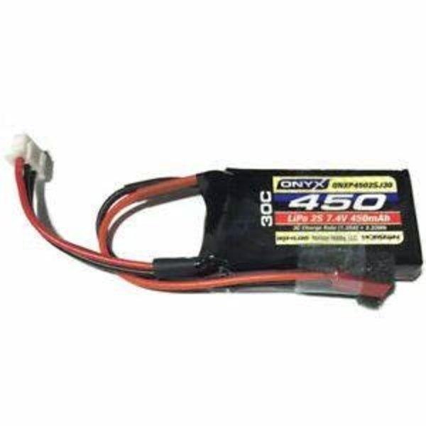 ONYX 7.4V 450mAh 2S 30C LiPo Battery: JST
