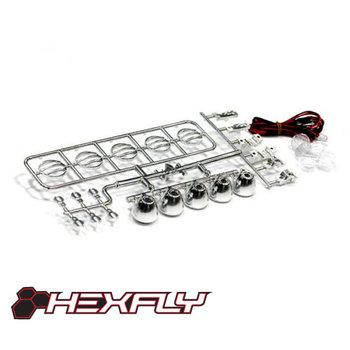 Redcat Racing Hexfly LED Crawler Light Bar Set(5 Spotlight) Chrome