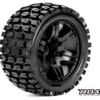 APEX Tracker 1/10 Stadium Truck Tires, Mounted on Black Wheels, 1/2 Offset, 12mm Hex (1 pair)