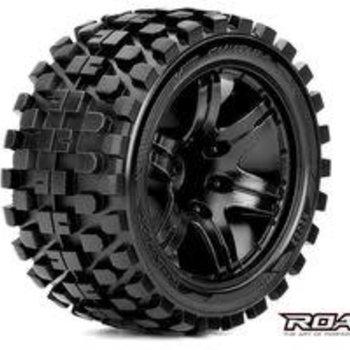 APEX Rhythm 1/10 Stadium Truck Tires, Mounted on Black Wheels, 1/2 Offset, 12mm Hex (1 pair)