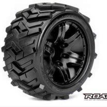 APEX Morph 1/10 Stadium Truck Tires, Mounted on Black Wheels, 1/2 Offset, 12mm Hex (1 pair)