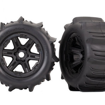 Traxxas Tires & wheels, assembled, glued (black 3.8' wheels, paddle tires, (2) (TSM rated) ship lower 48 inc
