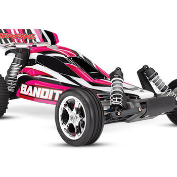 Traxxas Bandit: 1/10 Scale Off-Road Buggy. Ready-To-Race with TQ 2.4 radio system and XL-5 E.S.C. (fwd/rev). Includes: 7-Cell NiMH 3000mAh Traxxas® battery