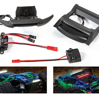 Traxxas LED light set, complete (includes bumper with LED lights, roof skid plate with LED lights, 3-volt accessory power supply, and power tap connector (with cable)) (fits #6717 body) (Online price includes ground shipping to the lower 48 states)