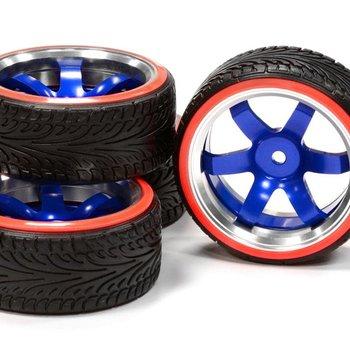 Integy Billet Machined Alloy B6 Spoke Wheel 0 Offset + Drift Tire (4) Set (O.D.=64mm) C24797BLUERED