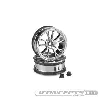 "Tactic - chrome street eliminator - 2.2"" 12mm hex front wheels (fits Traxxas Slash, Bandit, AE DR10 etc)"