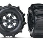 Traxxas 7773 Tires & wheels, assembled, glued (X-Maxx black wheels, paddle tires, foam inserts) (left & right) (2)