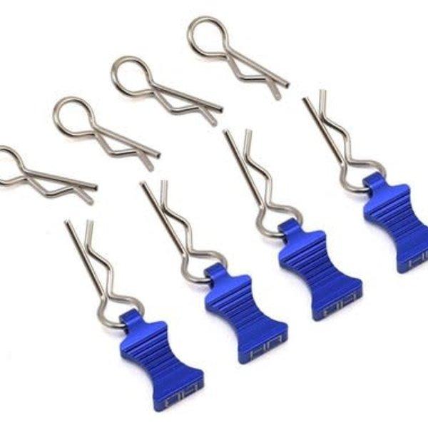 HOT RACING 1/10 Blue Aluminum EZ Pulls (4pcs) and Body Clips (8pcs)