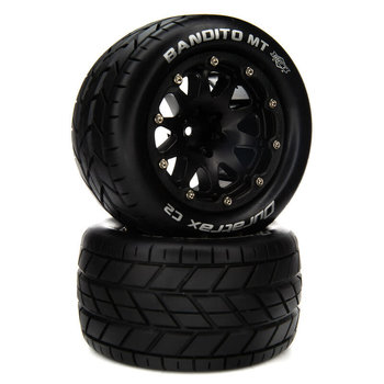 DuraTrax Bandito MT Belted 2.8 Mounted F/R 14mm Black (2)