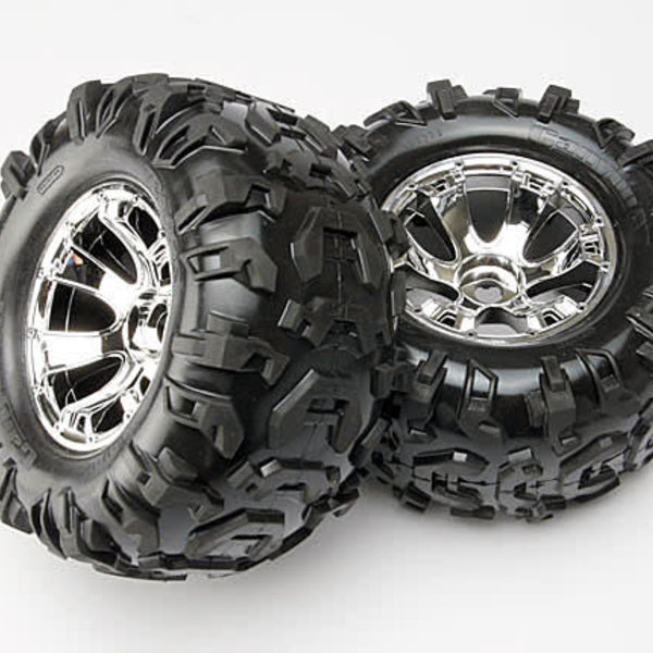 Traxxas 5673 - Tires & wheels, assembled, glued (Geode chrome wheels, Canyon AT tires, foam inserts) (2) (use with 17mm splined wheel hubs & nuts, part #5353X & beadlock-style sidewall protectors, part #5665, 5666, 5667)
