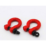 HOT RACING ACC808X02 1/10 Scale Alum Red Tow Shackle D-Rings (2)
