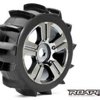 ROAPEX Paddle 1/8 Buggy Tires, Mounted on Chrome Black Wheels, 17mm Hex (1 pair)