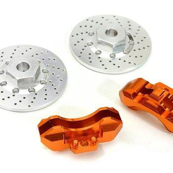 Integy Realistic Alloy Front Brake Disc (2) for Traxxas 1/10 4-Tec 2.0 C28426ORANGE
