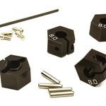 Integy 12mm Hex Wheel (4) Hub 8mm Thick for Traxxas 1/10, Axial, Tamiya, TC & Drift C27946BLACK