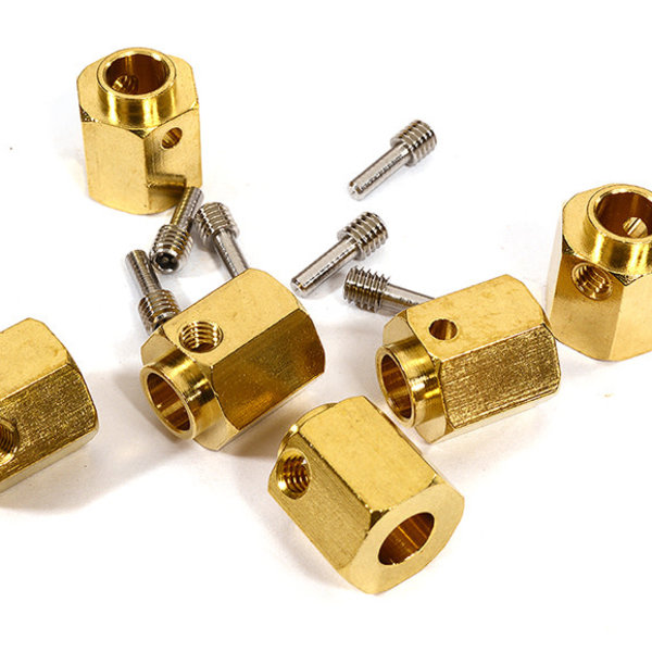 Integy 12mm Hex Wheel (6) Hub Brass 14mm Thick for Traxxas TRX-6 Scale & Trail Crawler C29572