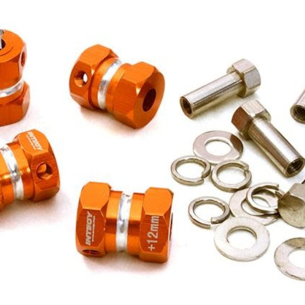 Integy 12mm Hex Wheel (4) Hub +12mm Offset for 1/10 Scale Truck & Buggy C27012ORANGE