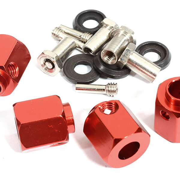 Integy 12mm Hex Wheel (4) Hub Alloy 13mm Thick for Traxxas TRX-4 Scale & Trail Crawler C30012RED