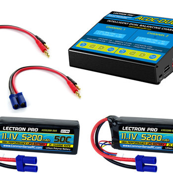 Lectron Pro Power Pack #26 - ACDC-DUO Charger + 2 x 11.1V 5200mah 50C w/ EC5 Connector (#3S5200-505)