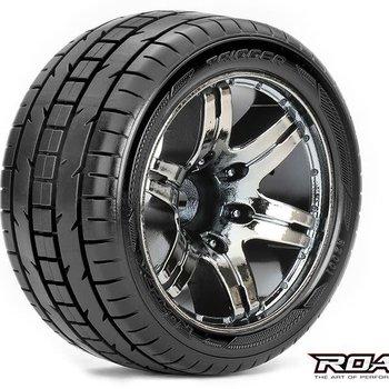 ROAPEX Trigger 1/10 Stadium Truck Tires, Mounted on Chrome Black Wheels, 1/2 Offset, 12mm Hex (1 pair)