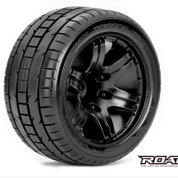ROAPEX Trigger 1/10 Stadium Truck Tires, Mounted on Black Wheels, 1/2 Offset, 12mm Hex (1 pair)