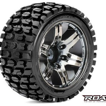 APEX Tracker 1/10 Stadium Truck Tires, Mounted on Chrome Black Wheels, 0 Offset, 12mm Hex (1 pair)