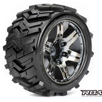 APEX Morph 1/10 Stadium Truck Tires, Chrome Black Wheels, 1/2 Offset, 12mm Hex (1 pair)