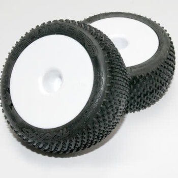 Traxxas Tires & wheels, assembled, glued (white dished 2.2' wheels, Response Pro 2.2' tires, foam inserts) (2)