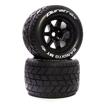 """DuraTrax Bandito MT Belt 3.8"""" Mounted Front/Rear Tires .5 Offset 17mm, Black (2)"""