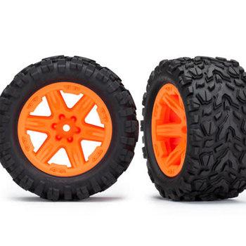 Traxxas Tires & wheels, assembled, glued (2.8') (RXT orange wheels, Talon Extreme tires, foam inserts) (2WD electric rear) (2) (TSM rated)
