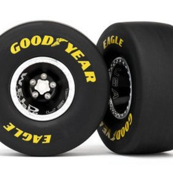 Traxxas TIRES & WHEELS, ASSBLED, GLUED, ALUM WELD WHEEL, SLICK TIRES (S1 COMPOUND), FOAM INSERTS, (REAR) (2)
