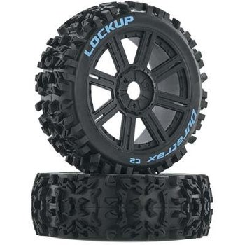 DuraTrax Lockup Buggy Tire C2 Mounted Spoke Black (2)