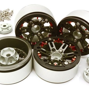Integy BILLET MACHINED 1.9 D6 SPOKE WHEELS W/ 0 & +3 ADAPTERS FOR TRAXXAS TRX4