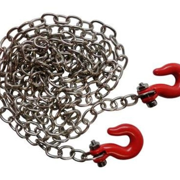 "APEX APEX RC PRODUCTS 1/10 RC ROCK CRAWLER 33"" SCALE METAL CHAIN W/ HOOKS #4050"