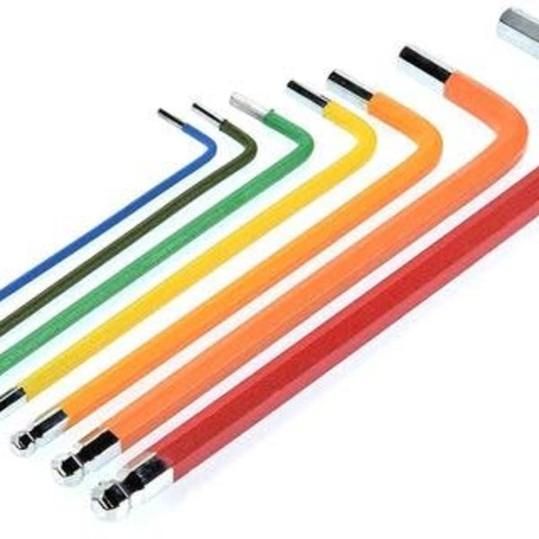 APEX Apex RC Products 7pc 1.5 / 2 / 2.5 / 3 / 4 / 5 / 6mm Ball End Long Arm Metric Allen Key Driver Set W/ Non-Slip Grip #2749