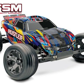 Traxxas tra37076-1 1/10 Rustler VXL RTR TQI Blue,yellowblk,red,or.
