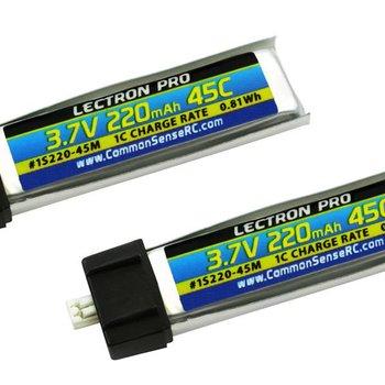 Commonsence RC Lectron Pro 3.7V 220mAh 45C Lipo Battery 2-Pack for Blade mCX, mCX2, mSR, mSR X, Nano QX, & UMX AS3Xtra
