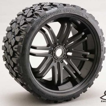 SRC Monster Truck Terrain Crusher Belted tire preglued on BLACK wheel 2pc set