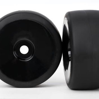 Traxxas 6475 Tires & wheels, assembled, glued (black, dished wheels, slick tires (S1 compound), foam inserts) (front) (2)