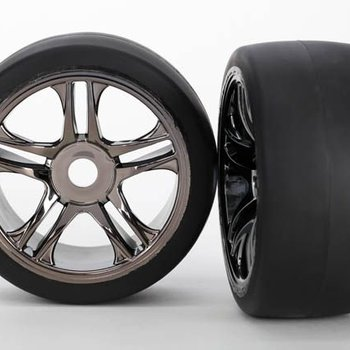 Traxxas 6477 Tires/Wheels Assembled Black Chrome Rear XO-1 (2)