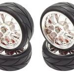 APEX APEX RC PRODUCTS 1/10 ON-ROAD CHROME MESH WHEELS & V TREAD RUBBER TIRE SET #5007