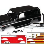 Traxxas 8010X - Body, Ford Bronco, complete (black) (includes front and rear bumpers, push bar, rear body mount, grill, side mirrors, door handles, windshield wipers, spare tire mount, red and sunset decals) (requires #8072 inner fenders)
