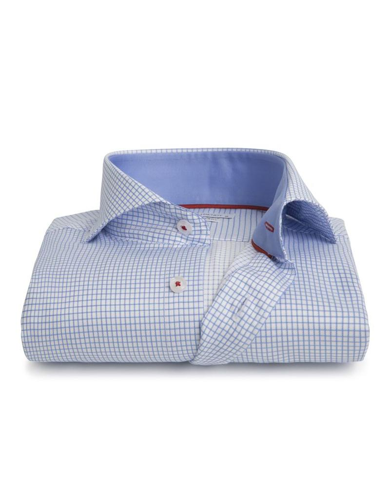 XOOS Men's light blue checkered and fitted shirt with red braid (Double Twisted)